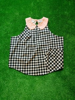 画像1: franky grow B.D.R ROUND COLLAR DRESS アイボリー*ブラックDOTS