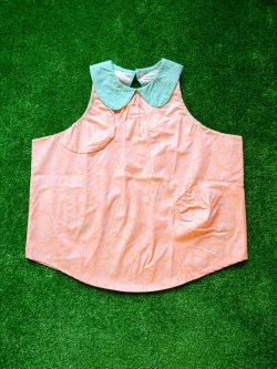 画像1: franky grow B.D.R ROUND COLLAR DRESS ピンク*オレンジBEAR