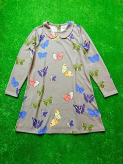画像1: mini rodini BUTTERFLIES COLLAR DRESS