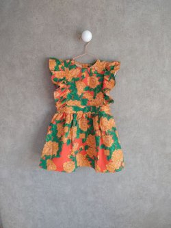画像1: mini rodini Peonies Woven Ruffle Dress