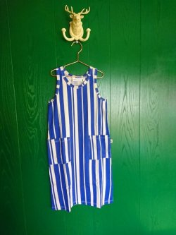 画像1: mini rodini ODD STRIPE TANK DRESS ブルー