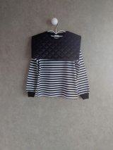 franky grow REMOVABLE QUILTING SAILOR COLLOR L/S TEE ホワイト*ブラックBORDER-ブラック