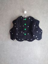 franky grow WAVE CUT SLEEVES QUILTING JACKET ブラック*シルバーDOTS